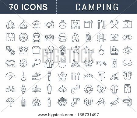 Set vector line icons in flat design camping eco and ecotourism with elements for mobile concepts and web apps. Collection modern infographic logo and pictogram.