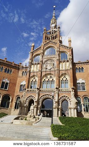 BARCELONA SPAIN - OCTOBER 08 2015: Former monastery and hospital Recinte Modernista de Sant Pau in Barcelona Spain