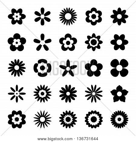 Black flower icons isolated on white background. Set of black floral icons. Flowers in flat design style. Flower silhouette symbols in black and white colors. Vector illustration in EPS8 format.