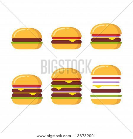 Burger icon constructor set. From simple hamburger to double and triple cheeseburger with tomato onions and lettuce.