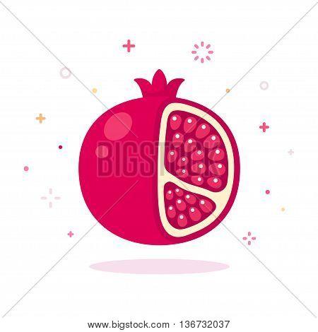 Pomegranate vector illustration. Cartoon icon of pomegranate on white background.