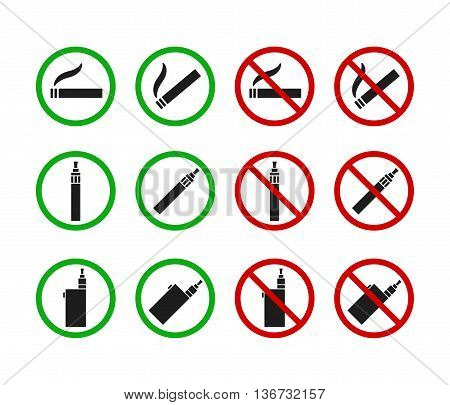 Set of No Smoking and Smoking Allowed signs. Cigarettes and vaporizers (electronic cigarettes)