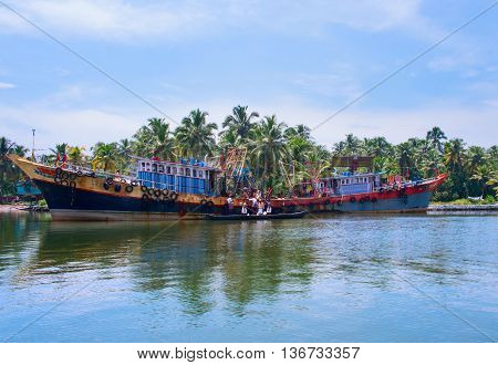 Indian Fishing Boats  In Kerala