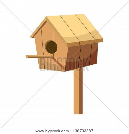 Birdhouse icon in cartoon style isolated on white background. Gardening and construction symbol