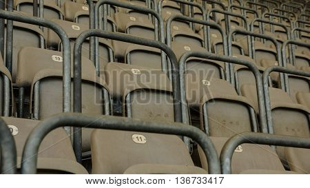 chairs on a soccer stadium that looks nice