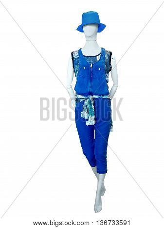 Female mannequin dressed in blue jeans overalls. Isolated on white background. No brand names or copyright objects.