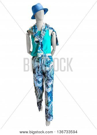 Female mannequin dressed in summer clothes isolated on white background. No brand names or copyright objects.