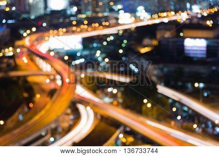 Aerial view close up blurred lights highway interchange night view