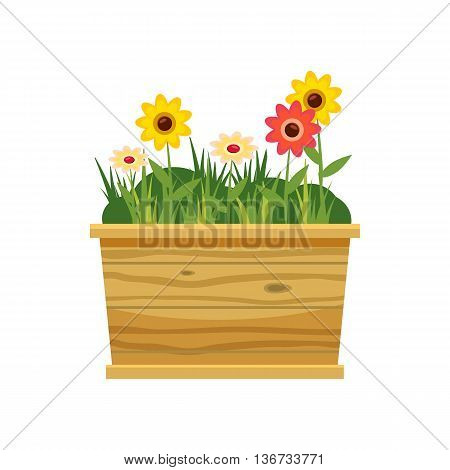 Flower bed icon in cartoon style isolated on white background. Plants symbol