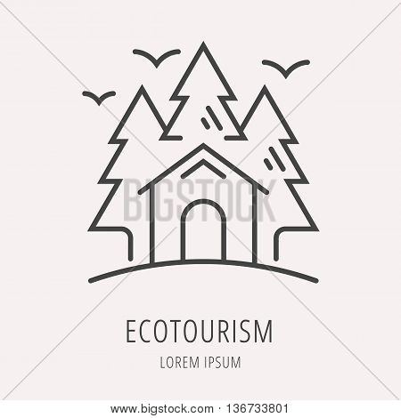 logo or label forest and ecotourism. Line style logotype template. Easy to use business template. Vector abstract logo or emblem.