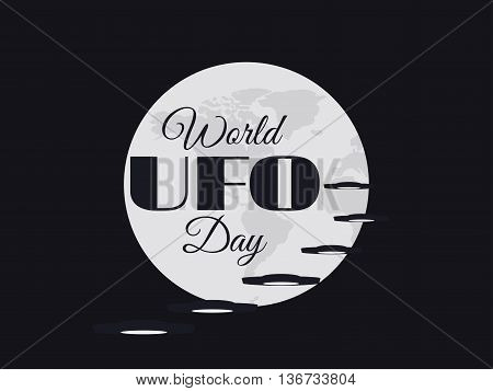 World Ufo Day, Planet And Spaceship. Flying Saucer. Ufo Icon Vector Illustration.