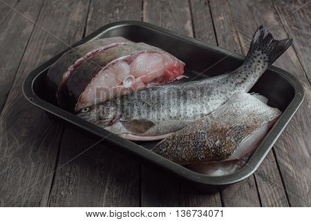 Raw Fish In An Iron Bowl On A Wooden Background