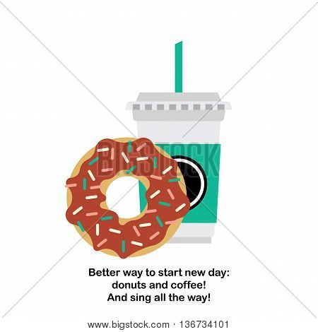 Vector donut and coffee. Vector template coffee-cup with donut. Vector cartoon coffee and donut.