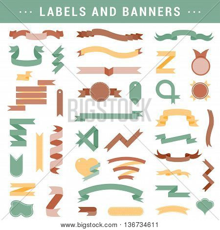 Big set of colorful ribbons in style flat. Retro vintage elements vector set with ribbons labels badges with the inscription - stock vector.