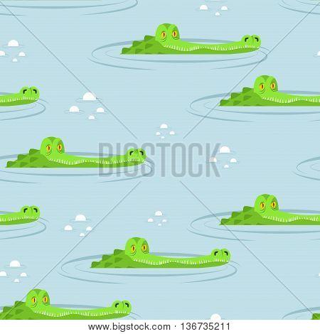 Crocodile In Water Seamless Pattern. Large Alligator In Swamp Ornament. Cute Caimans Head In Pond Ba