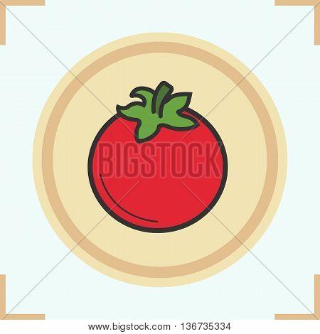 Tomato color icon. Tomatoe. Vector isolated illustration