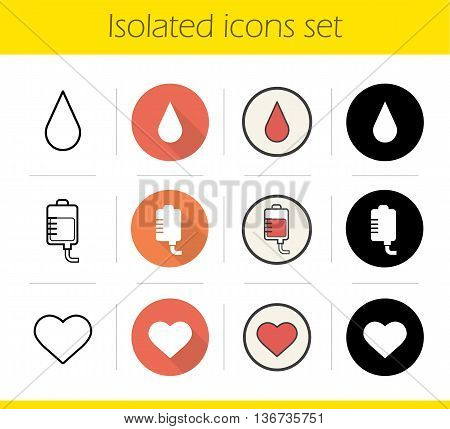 Blood donation icons set. Flat design linear black and color styles. Blood drop and bag heart symbol. Blood transfusion isolated vector illustrations