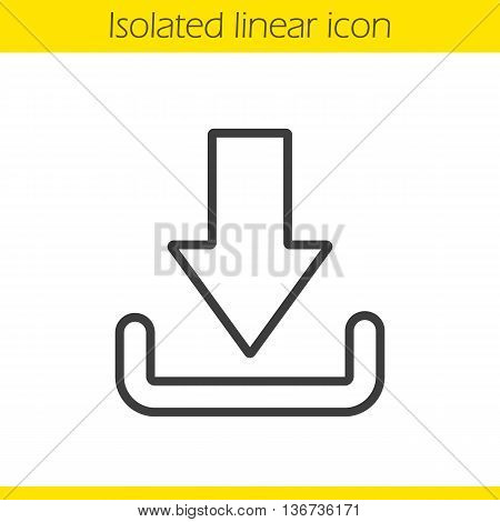 Download arrow linear icon. Thin line illustration. Files downloading contour symbol. Vector isolated outline drawing