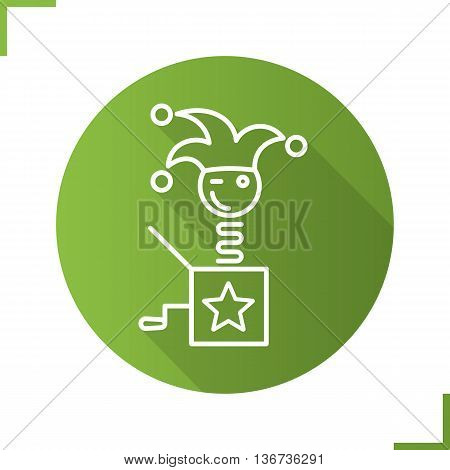 Jack in the box linear icon. Winking clown thin line illustration. April fools day. Jester toy. Contour symbol. Vector isolated outline drawing