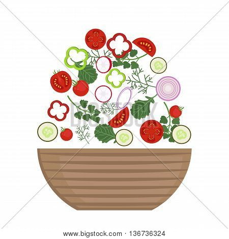 Vector illustration set of delicious vegetables in vegan salad on white background. Healthy organic food. Set of ingredients for cooking in flat style