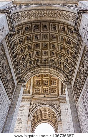 Arc de Triumphe stone vault carving ornaments, Paris, France.