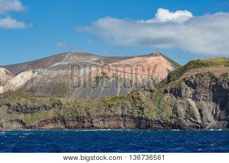 View at Vulcano Island of Aeolian Islands near Sicily Italy