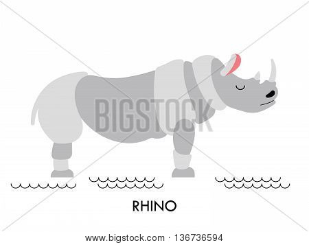 Cartoon african animal. Vector cartoon african Rhino made in flat style. Isolated wild african Rhino. Cartoon wild african animal background.