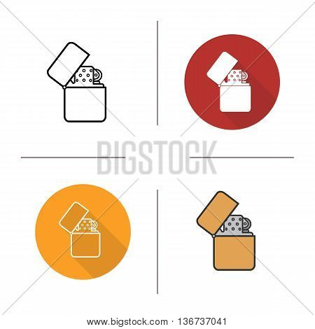 Flip lighter icon. Flat design linear and color styles. Cigarette lighter isolated vector illustrations