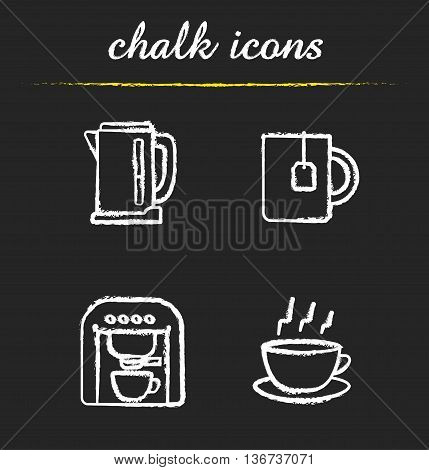 Tea and coffee icons set. Electric kettle mug with teabag espresso machine and steming cup on plate illustrations. Isolated vector chalkboard drawings