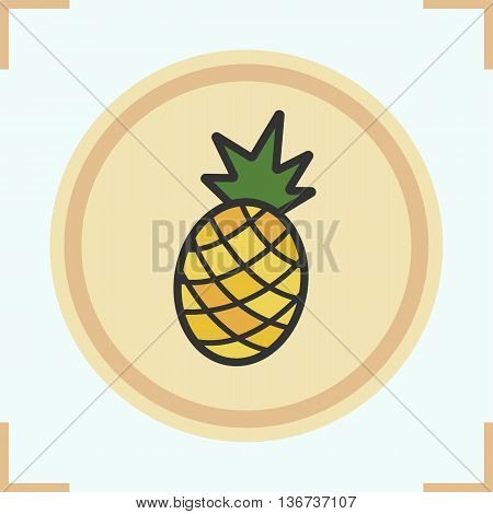 Pineapple color icon. Ananas vector isolated illustration