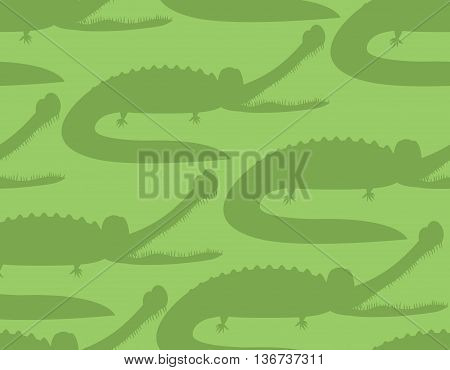 Crocodile Seamless Pattern. Good Caiman Ornament. Wild Animal. Green Reptile Texture. Alligator Back