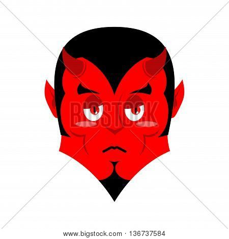 Sad Satan. Sorrowful Red Devil. Pessimistic Demon. Pitiful Face. Mournful Miserable Devil With Horns