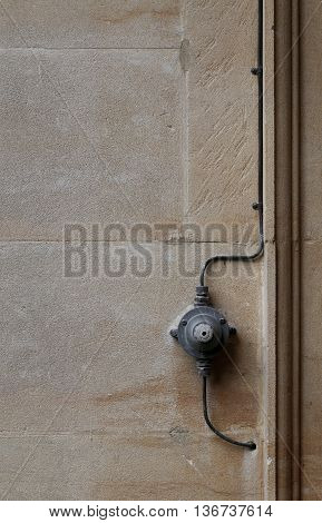 Old Electrical Switch On Off With Wires Stone Wall Background