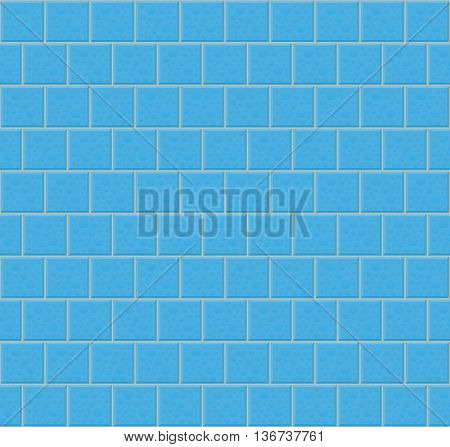 Blue Wall Tiles With Bubbles. Vector Illustration Of Blue Wall Tiles With Bubbles As Seamless Pattern