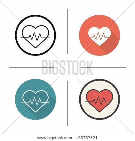 Heartbeat icon. Flat design linear and color styles. Electrocardiogram. Cardiology symbol. Heart pulse analysis isolated vector illustrations