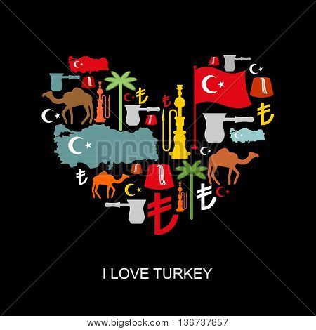 I Love Turkey. Sign Heart Of Traditional Turkish Folk Characters. Map And Flag Of Country. Turk And