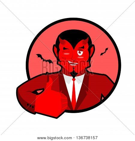 Devil Shows Well. Sign All Right. Thumbs Up. Hand Showing Ok. Gesture Of  Hand. Funny Demon. Heck Wi