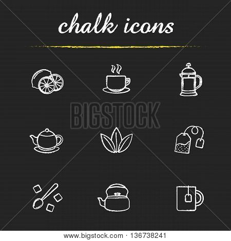 Tea icons set. Lemons steaming cup on plate french press teapot loose tea leaves refined sugar cubes kettle mug with teabag illustrations. Isolated vector chalkboard drawings
