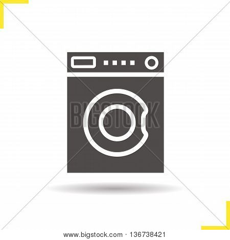 Washing machine icon. Negative space. Drop shadow silhouette symbol. Washer vector isolated illustration