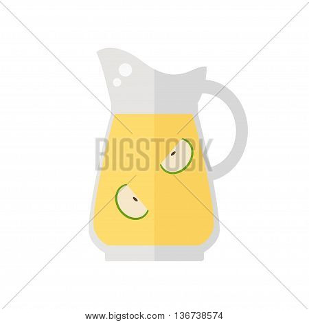 Juice jug icon. Apple juice jug isolated icon on white background. Fresh apple juice. Healthy drink. Flat style vector illustration.