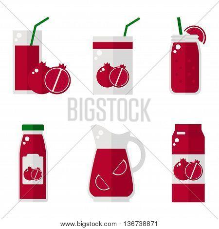Pomegranate juice isolated icons on white background. Pomegranate juice bottle, glass, pack set. Flat style vector illustration.