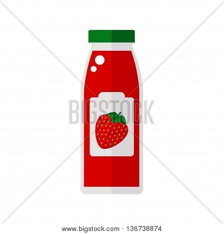 Juice icon. Bottle of juice isolated icon on white background. Strawberry juice icon. Flat style vector illustration.