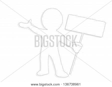 Dotted white man holding a table vector illustration template