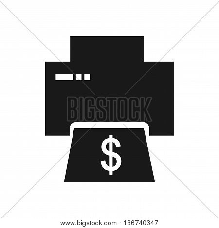 Flat icon in black and  white money printing