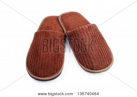 Brown Wool Slipper Isolated On White Background