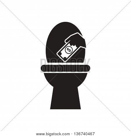 Flat icon in black and  white money toilet