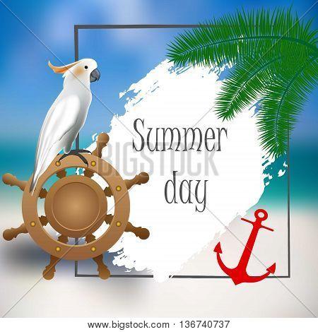 White parrot, helm, anchor Sample text Marine stil