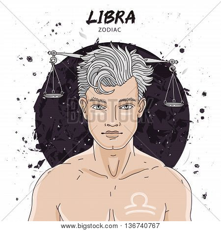 Portrait of a handsome young man. Astrological horoscope sign of Libra. The guy with the silver hair. Vector illustration on white background. Concept zodiac sign. A great gift card.