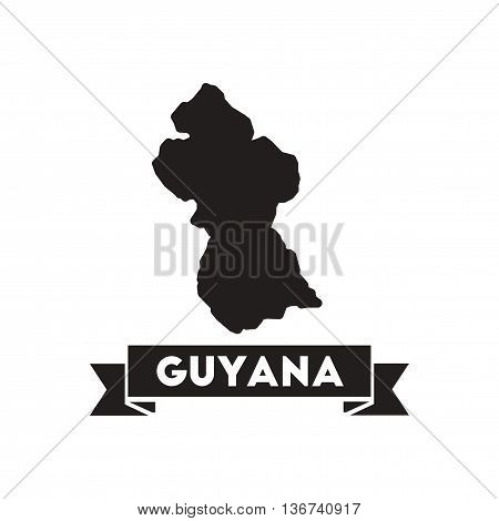 Flat icon in black and  white maps of Guyana