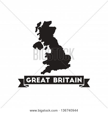 Flat icon in black and  white United Kingdom map